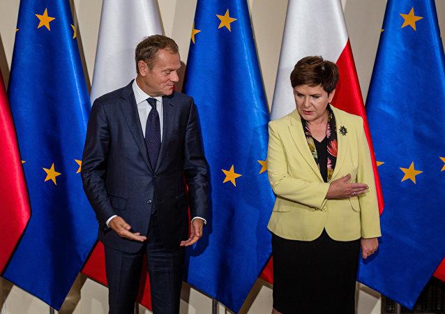 Przewodniczący Rady Europejskiej Donald Tusk i premier RP Beata Szydło