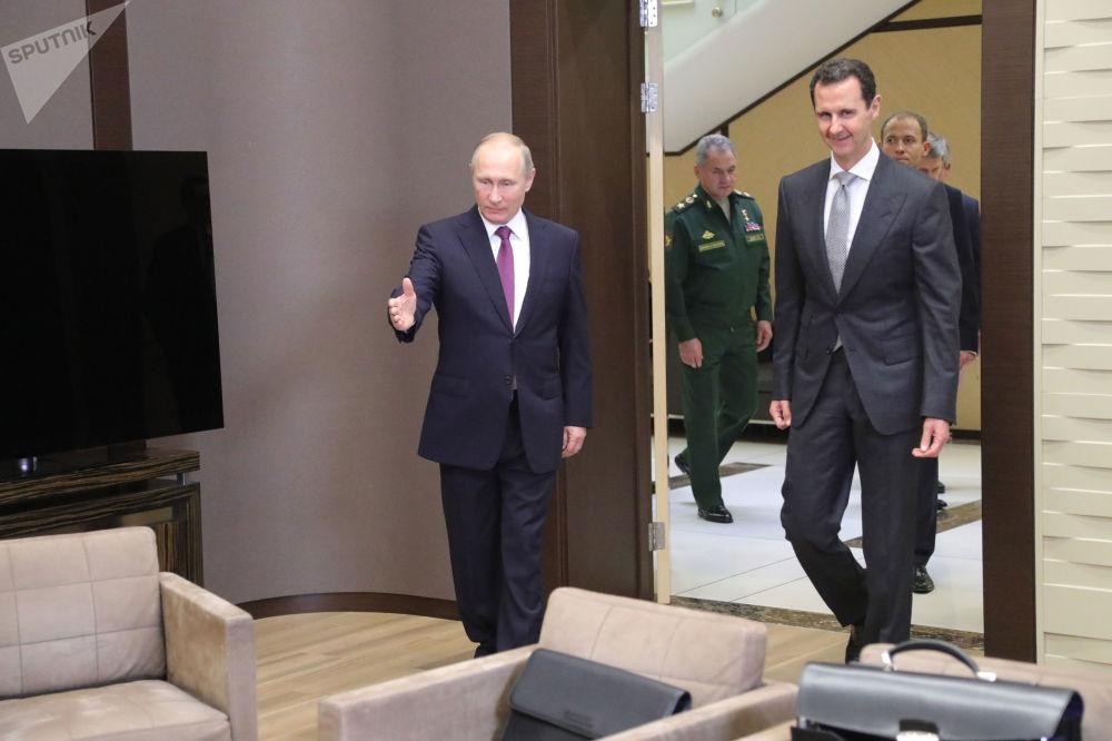 Władimir Putin i Baszar al-Asad podczas spotkania w Soczi