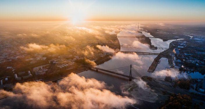 Widok na stolicę Łotwy Rygę