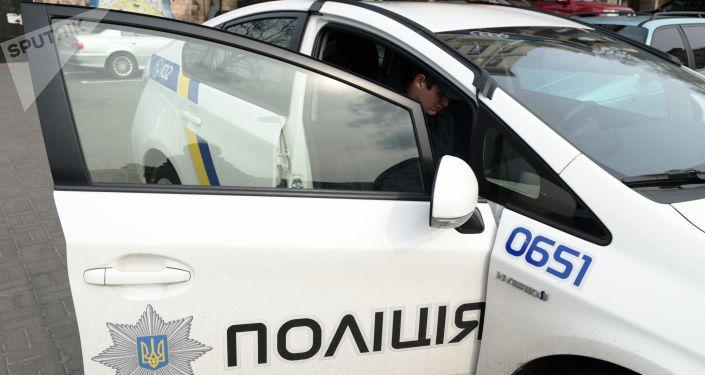 Samochód policyjny w Kijowie