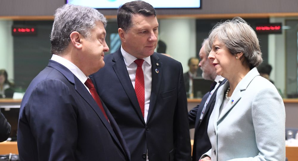 Petro Poroszenko, Raimonds Vejonis i Theresa May