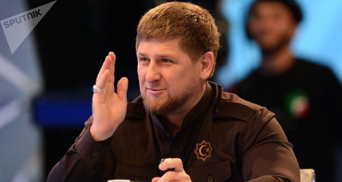 Szef Czeczeńskiej Republiki Ramzan Kadyrow na konferencji prasowej