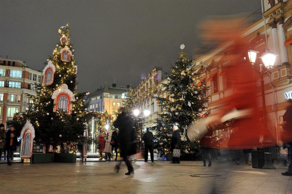 Świąteczne dekoracje na ulicach Moskwy