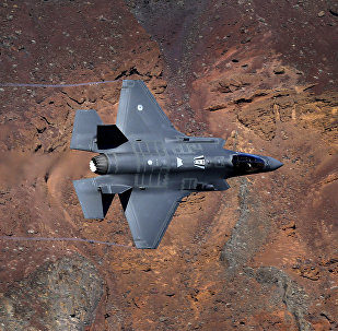 In this Feb. 28, 2017, photo, a Lockheed Martin F-35A Lighting II from the 323 Squadron, Royal Netherlands Air Force flies through the nicknamed Star Wars Canyon on the Jedi transition in Death Valley National Park, Calif.