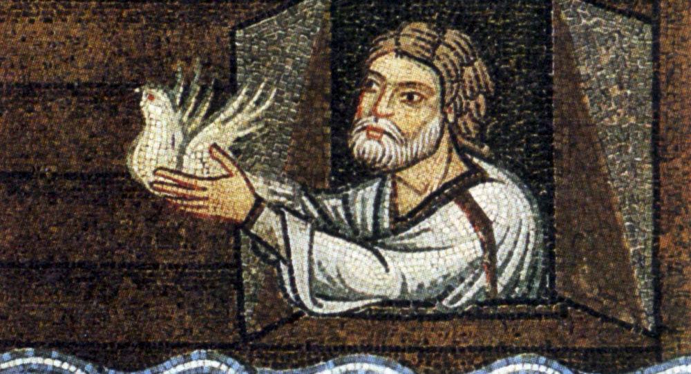 Mozaika przedstawiająca Noego, który wypuszcza z arki gołębia