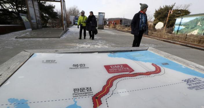Mapa Korei Północnej i Korei Południowej w parku Imjingak w Paju