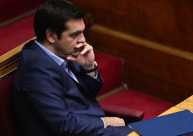 Premier Grecji Aleksis Tsipras na posiedzeniu parlamentu w Atenach
