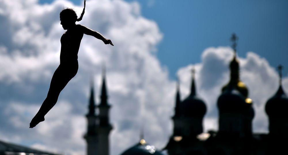 Uczestniczka zawodów w high divingu podczas XVI Mistrzostw Świata w Sportach Wodnych FINA 2015