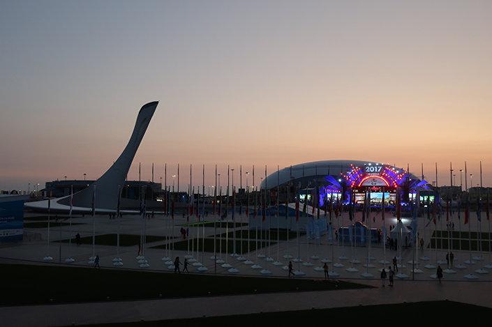 Zachód słońca nad Parkiem Olimpijskim w Soczi
