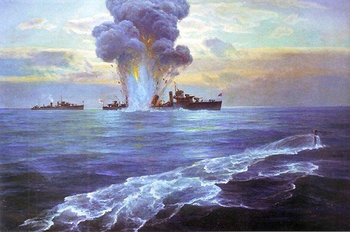 Obraz N. E. Bublikowa i G. W. Gorszkowa. Zatopienie angielskiego niszczyciela Vittoria w pobliżu wyspy Seiskari 31 sierpnia 1919 roku przez łódź podwodną Floty Bałtyjskiej Pantera