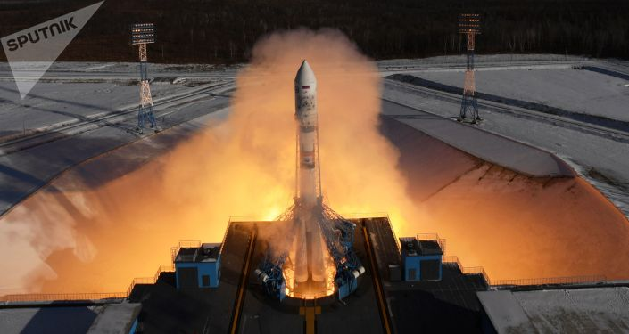Start rakiety nośnej Sojuz 2.1a z aparatami zdalnego sondowania Ziemi Kanopus-B z kosmodromu Wostocznyj