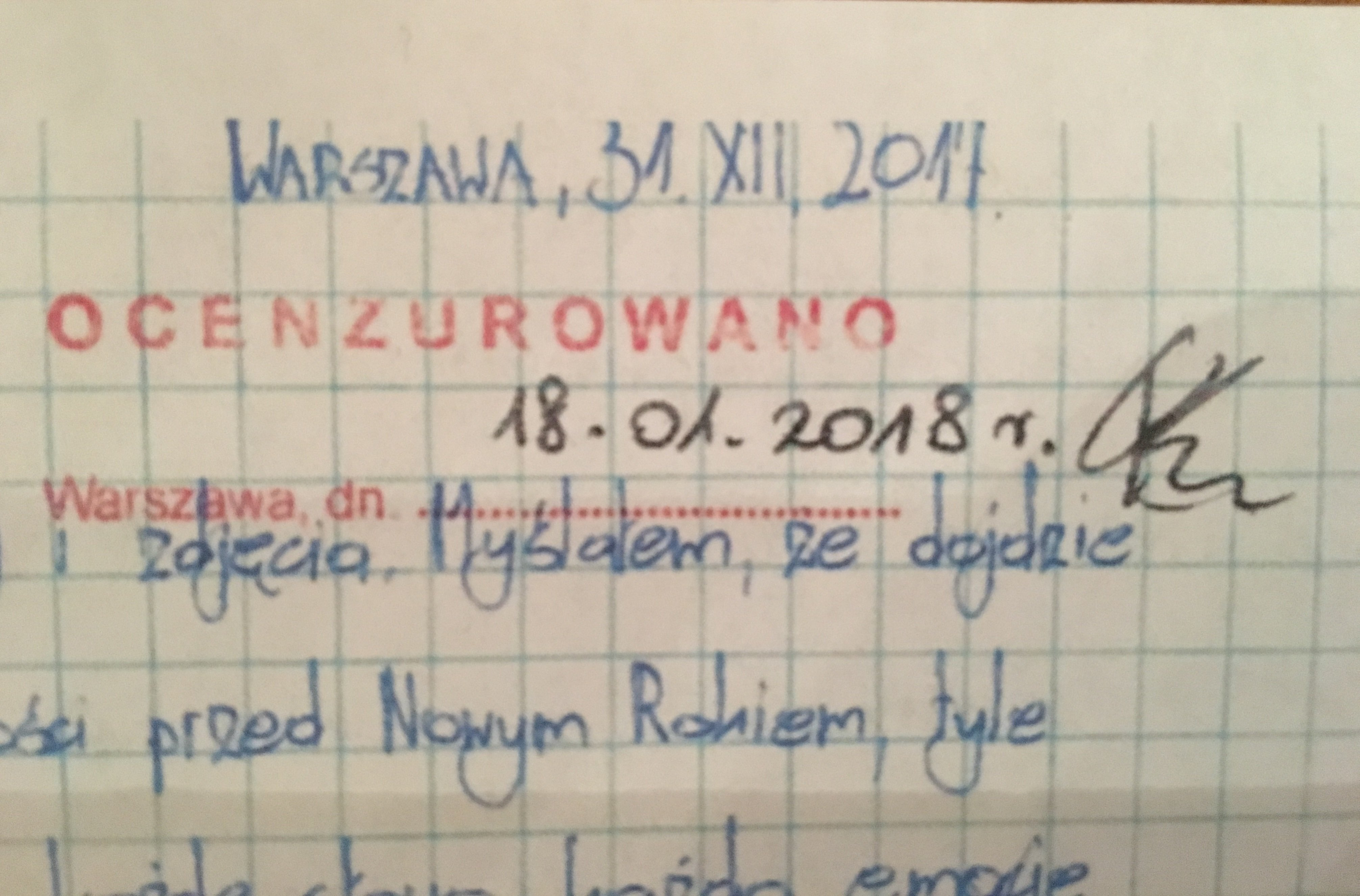 List Mateusza Piskorskiego. 18.01.2018 r. Pieczątka cenzury