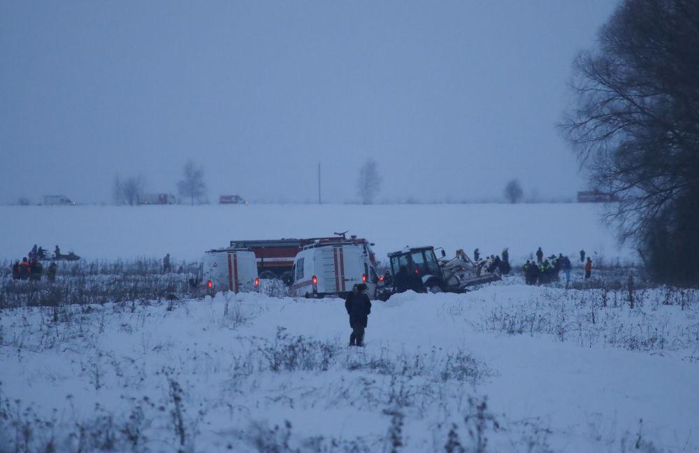 Miejsce katastrofy samolotu An-148 Saratowskich linii lotniczych pod Moskwą.