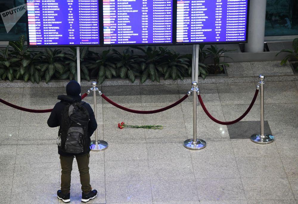 Pasażer przy tablicy informacionnnej na lotnisku Moskwa-Domodiedowo
