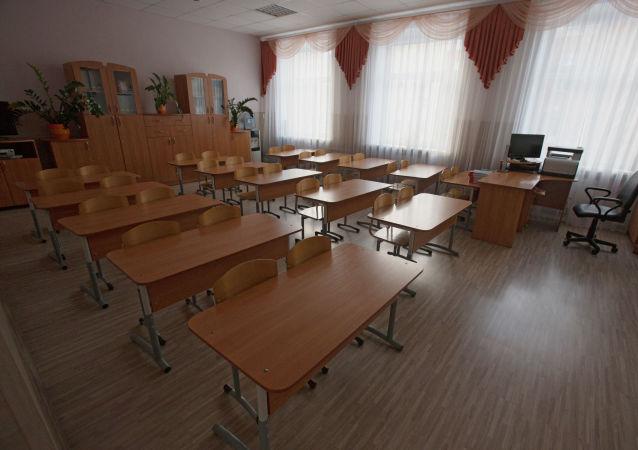 Pusta klasa szkolna. Zdjęcie archiwalne