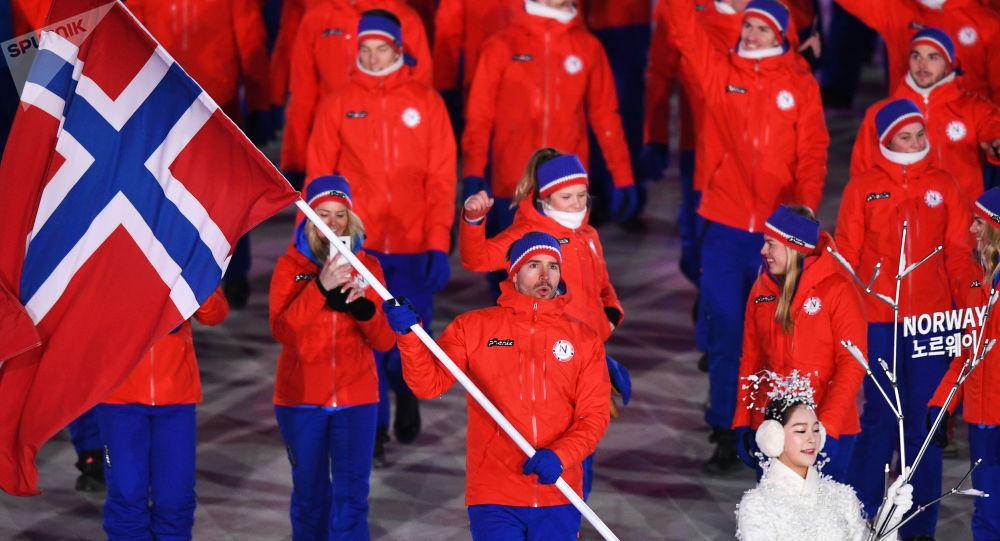 Reprezentacja Norwegii na ceremonii otwarcia Igrzysk Olimpijskich w Pjongczangu