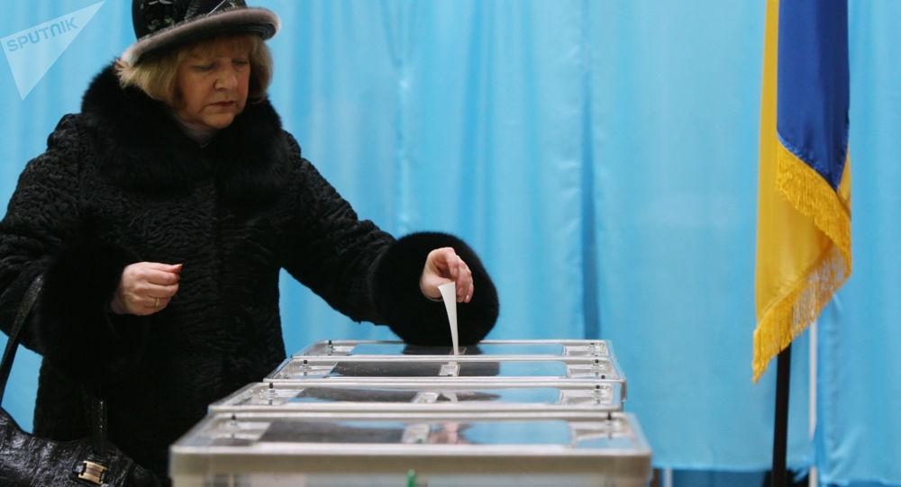 Lokal wyborczy w Kijowie podczas wyborów prezydenckich na Ukrainie