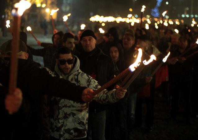 Marsz z pochodniami w Bułgarii