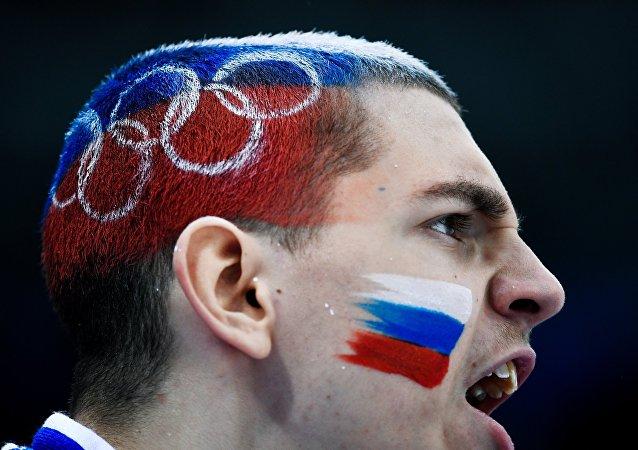 Rosyjski kibic na Zimowych Igrzyskach Olimpijskich w Pjongczangu