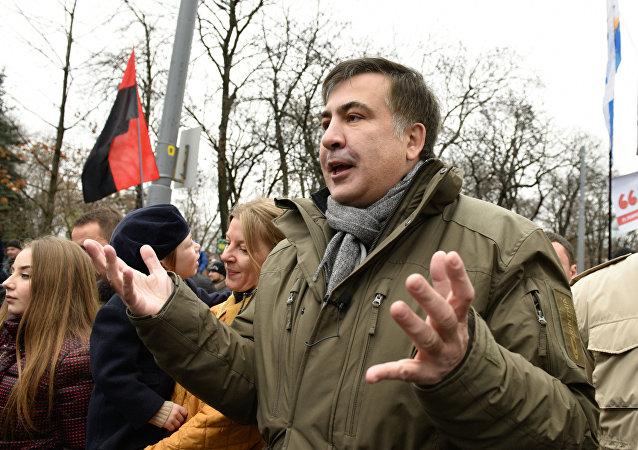 Micheil Saakaszwili w Kijowie, grudzień 2017