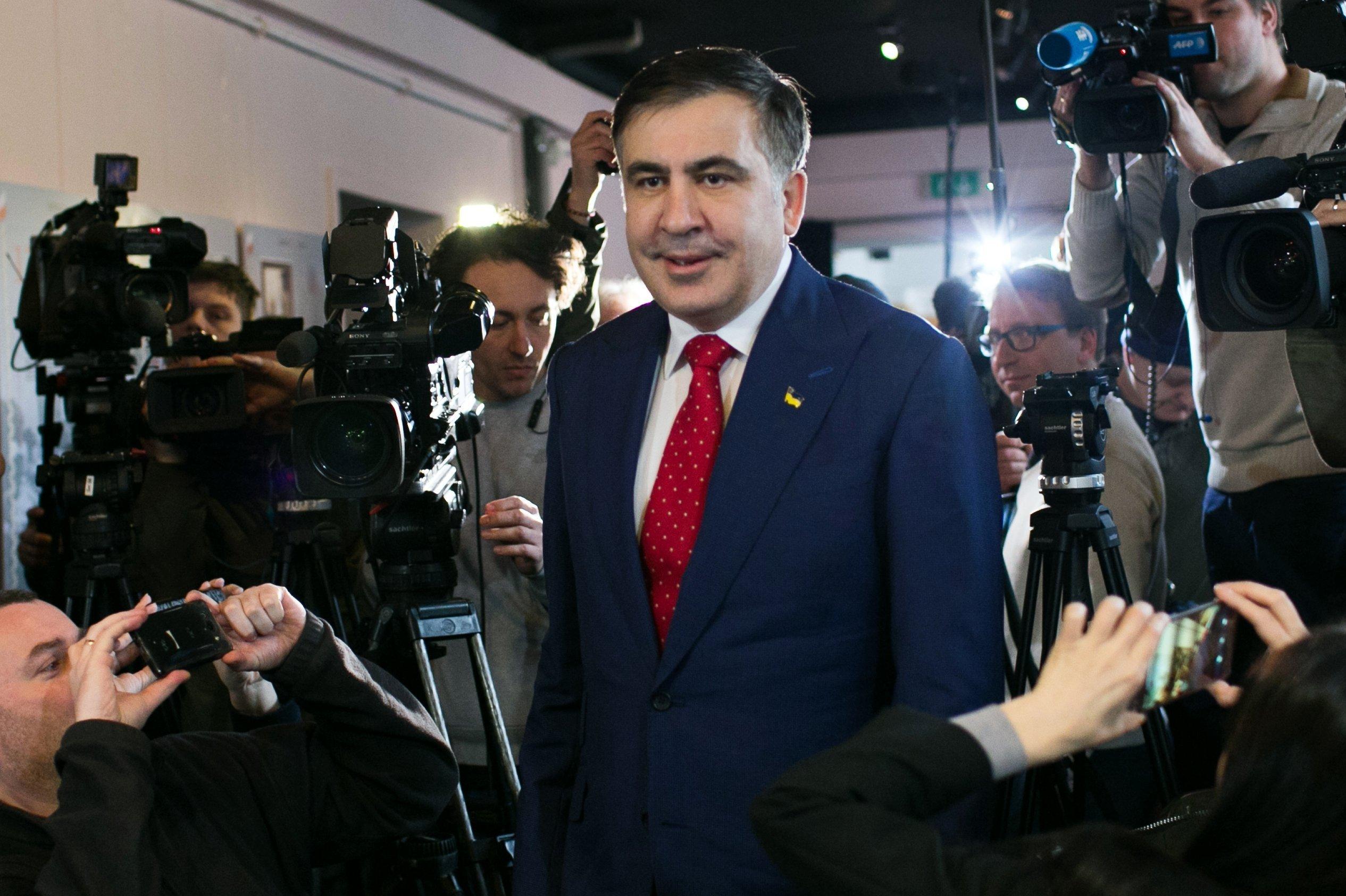 Konferencja prasowa Micheila Saakaszwilego w Warszawie