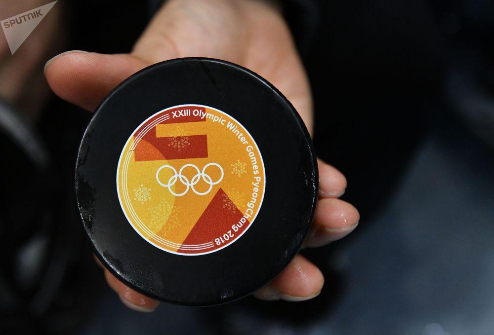 Krążek turnieju hokejowego na XXIII Zimowych Igrzyskach Olimpijskich.