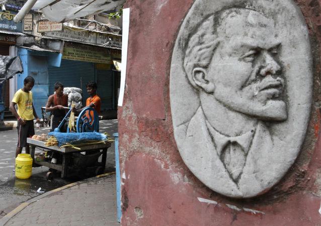 Płaskorzeźba Władimira Lenina w Kalkucie, Indie