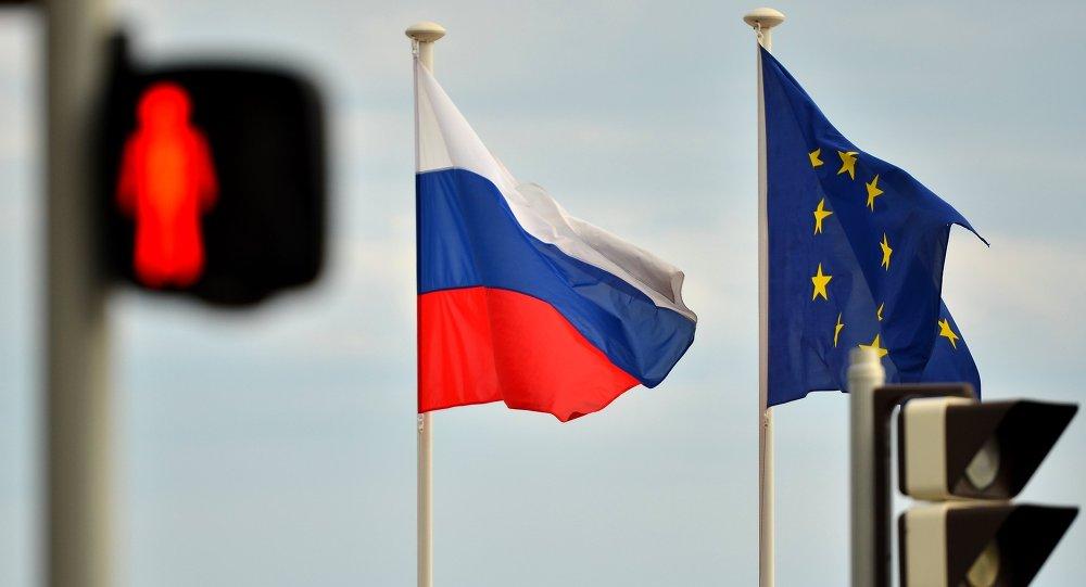 Flagi UE i Rosji
