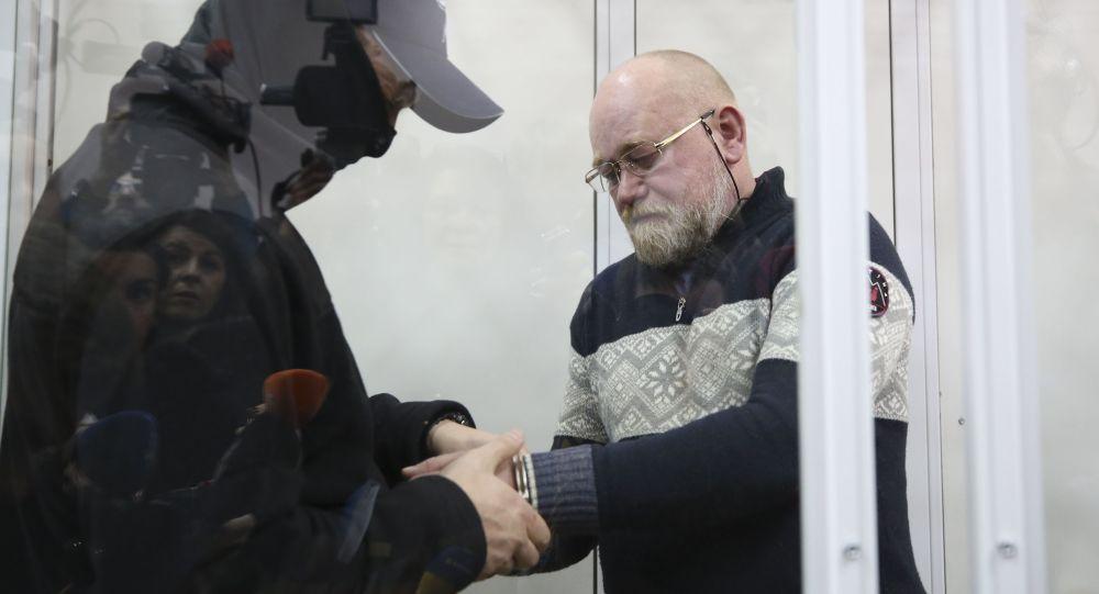 """Kierownik Centrum Wyzwolenia Jeńców """"Korpus Oficerski"""" Władimir Ruban podczas rozprawy sądowej w Kijowie"""