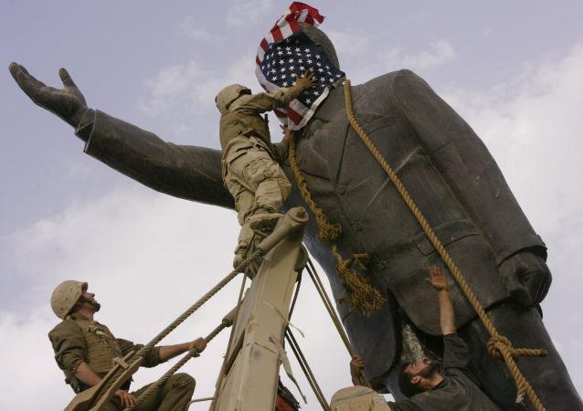 Demontaż pomnika Saddama Husseina w Bagdadzie, Irak