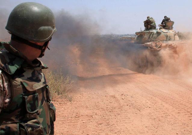 Syryjskie wojska w okolicach północnej części miasta Aleppo