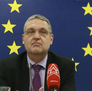 Ambasador Unii Europejskiej w Rosji Markus Ederer na konferencji prasowej w Moskwie