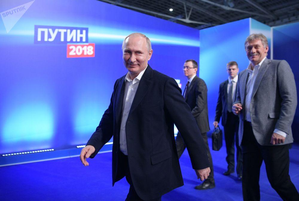 Przedwyborczy sztab kandydata na prezydenta Rosji Władimira Putina