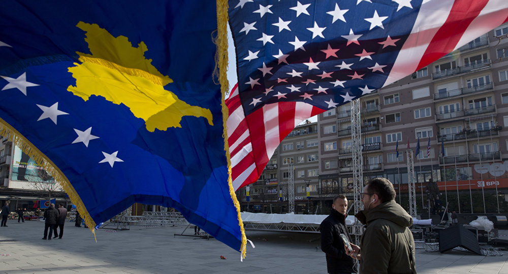 Flaga Kosowa i USA