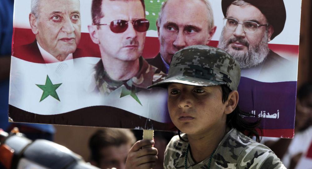 Plakat przed ambasadą Rosji w Bejrucie