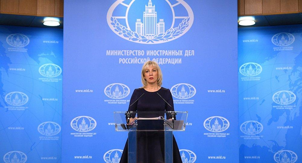 Rzeczniczka Ministerstwa Spraw Zagranicznych Rosji Maria Zacharowa na briefingu