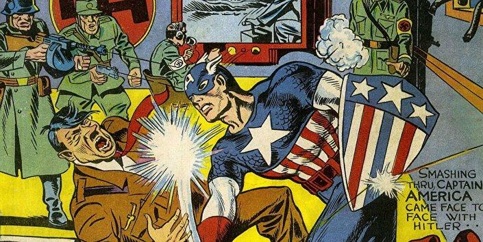 Kapitan Ameryka wymierza cios w twarz Hitlerowi