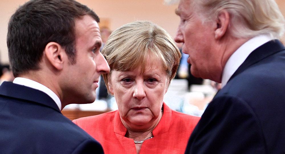 Kanclerz Niemiec Angela Merkel, prezydent USA Donald Trump i prezydent Francji Emmanuel Macron