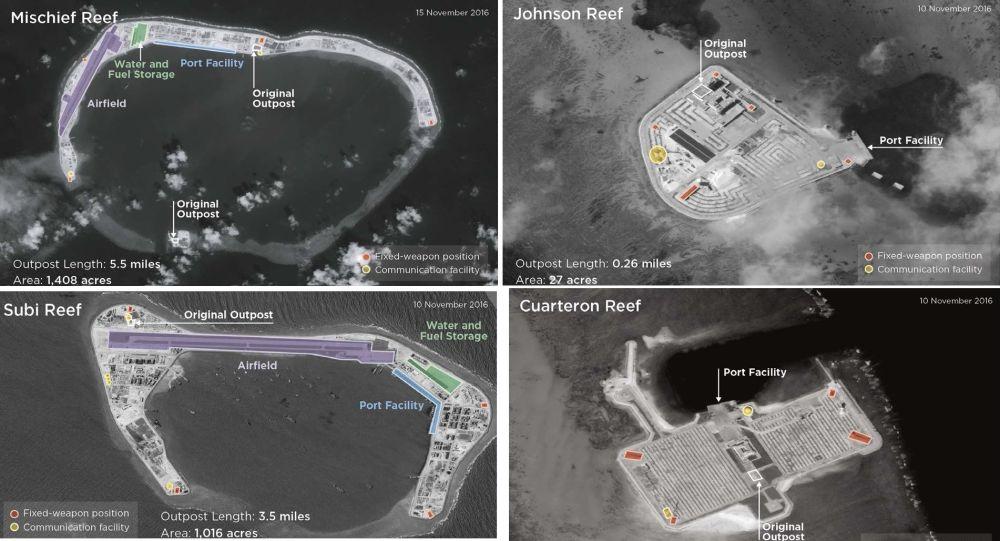 Rozmieszczenie baz wojskowych chińskiej marynarki wojennej na wyspach archipelagu Spratly