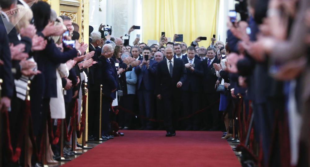 Prezydent Federacji Rosyjskiej Władimir Putin podczas uroczystości inauguracji w Wielkim Pałacu Kremlowskim