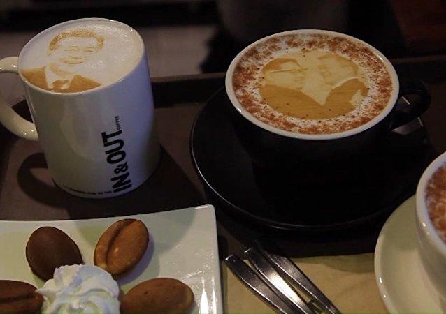 Kawa z wizerunkiem liderów dwóch Korei