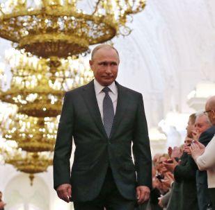 Prezydent Rosji Władimir Putin w czasie uroczystości inauguracji na Kremlu