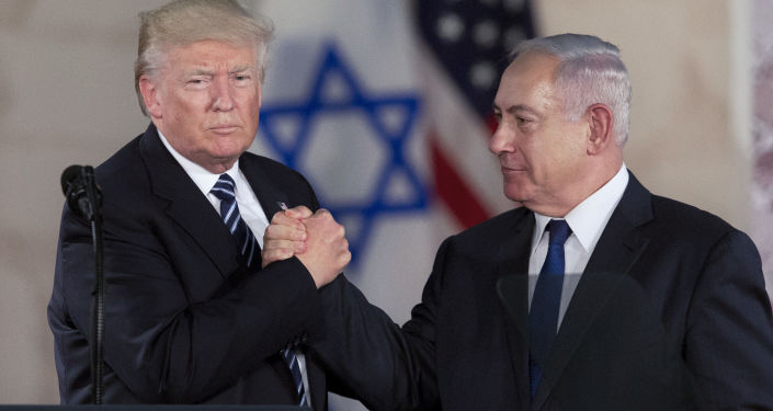 Prezydent USA Donald Trump i premier Izraela Binjamin Netanjahu na spotkaniu w Jerozolimie