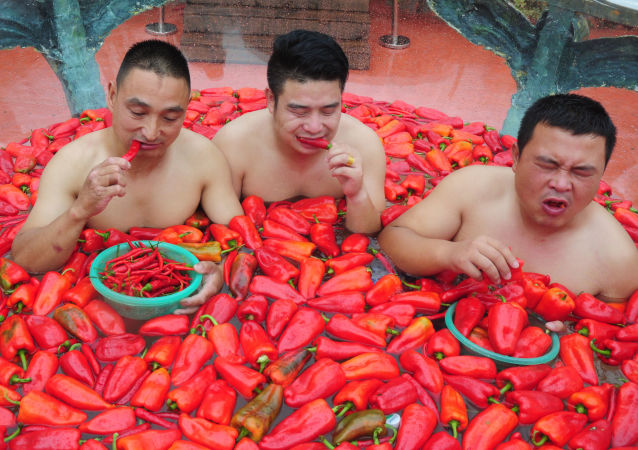 Konkurs jedzenia ostrej papryczki w Chinach