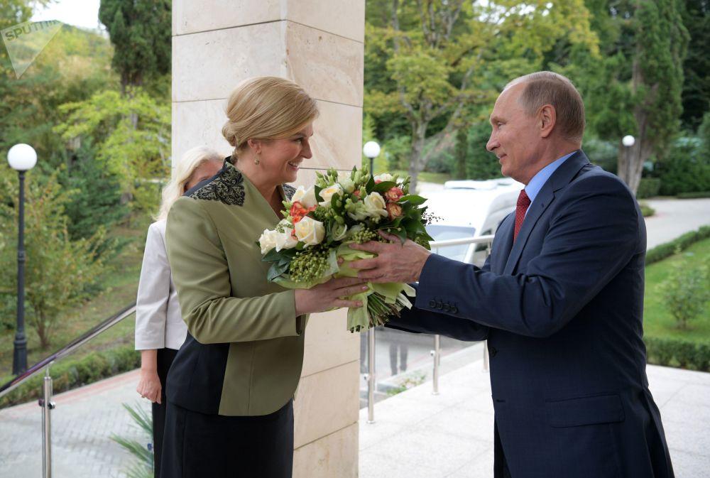 Władimir Putin i prezydent Chorwacji Kolinda Grabar-Kitarović, 2018 rok