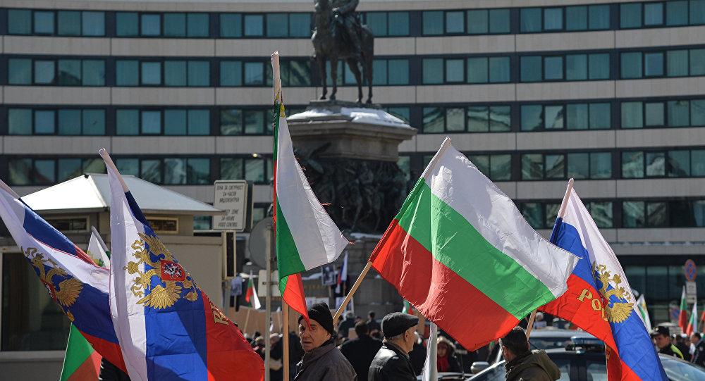 Flagi Rosji i Bułgarii