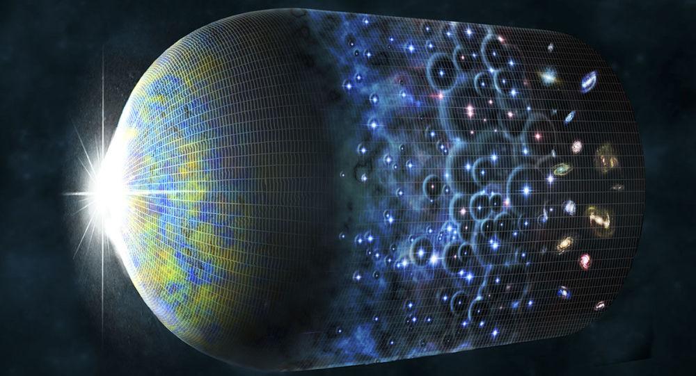 Artystyczna wizualizacja ewolucji Wszechświata i powstania echa Wielkiego Wybuchu