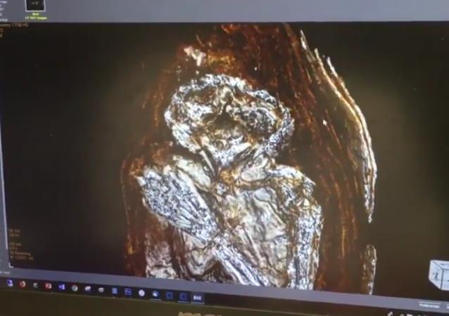 Zdjęcie mumii noworodka ze Starożytnego Egiptu