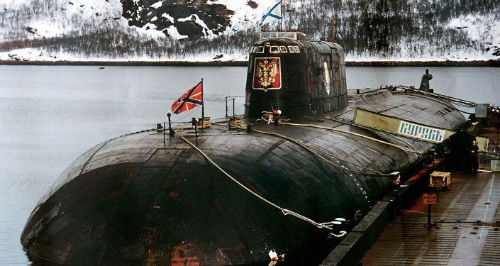 Okręt podwodny Kursk na bazie wojskowej w Widiajewie