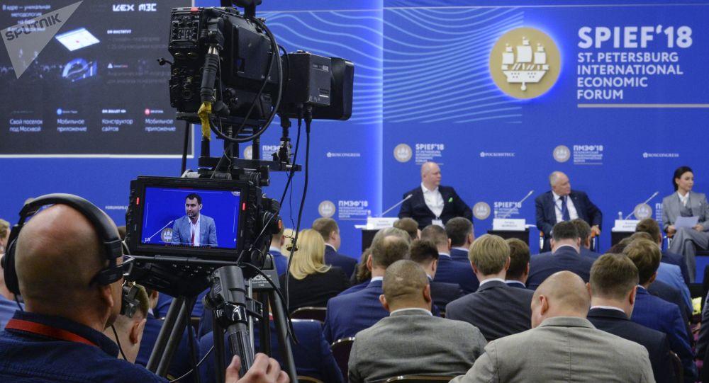 Dziennikarze na Forum w Petersburgu